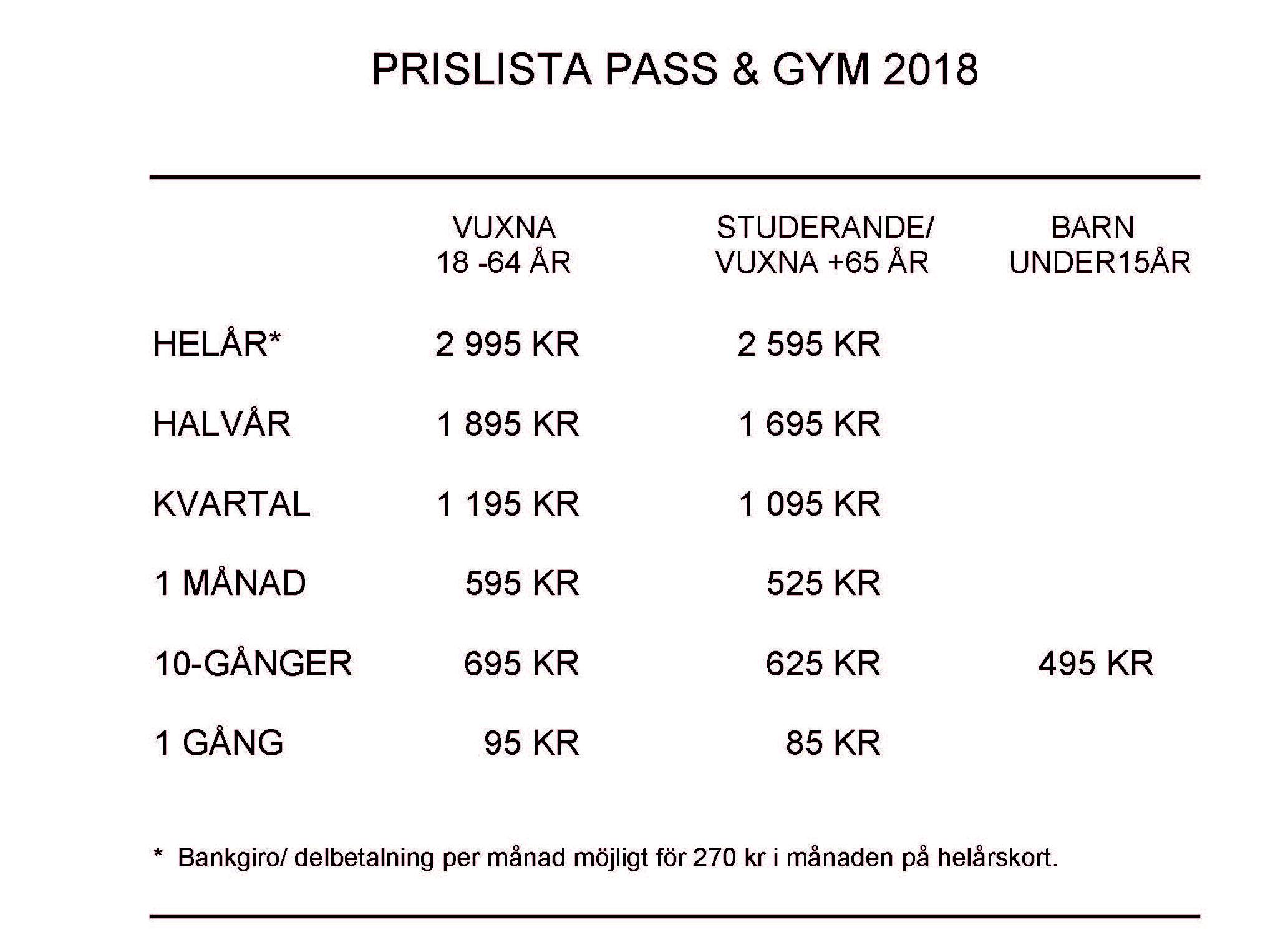 Prislista Pass & Gym 2018